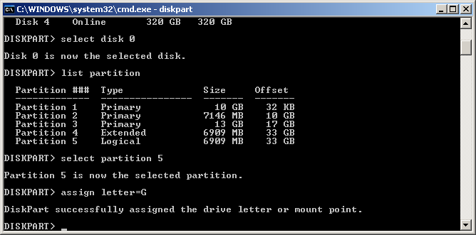 Restore partitions by using diskpart-1