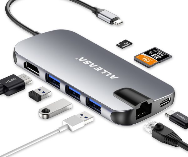 50% OFF USB C Hub 8 in 1 HDMI Adapter for MacBook Pro/Air 2018